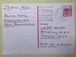 9103 - 50 Jahre Olympiaort  Garmisch-Partenkirchen 3.11.1986 Sur Entier Postal - Winter 1936: Garmisch-Partenkirchen