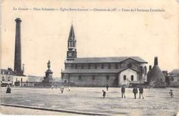 71 - LE CREUSOT ( Usine Industrie ) Place Schneider Cheminée De 75 M Fours Ancienne Christallerie - CPA - Saône Loire - Le Creusot