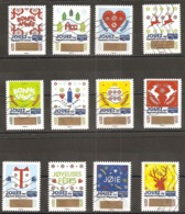 FRANCE AUTOADHESIFS OBLITERES-SERIE COMPLETE-12 TIMBRES VOEUX A GRATTER 2018-TIMBRES NON GRATES-N° YVERT 1641 A 1652 - Luchtpost