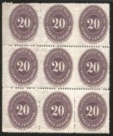 J) 1890 MEXICO, 20 CENTS DARK, VIOLET LARGEST, BLOCK OF 9 MNH - Mexique