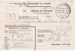 PRISONNIER DE GUERRE 40 45 ALLEMAND EN BELGIQUE OPPACH VERS CAMP BO VI CAGE D CENSURE MILITAIRE 1NSURE MILITAIRE BELGE 1 - Militaria