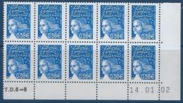 """FR Coins Datés YT 3451 Bloc De 10 """" Luquet 0.58€ Bleu """" Neuf** Du 14.01.02 - Dated Corners"""