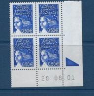 """FR Coins Datés YT 3449 """" Luquet 0.50€ Bleu Nuit """" Neuf** Du 28.06.01 - Ecken (Datum)"""