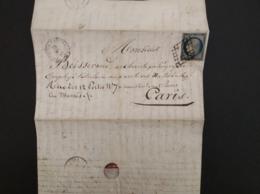 FRANCE 1850 - YT 4 Sur Lettre Complète Avec Texte - Poststempel (Briefe)