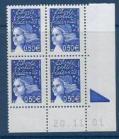 """FR Coins Datés YT 3449 """" Luquet 0.50€ Bleu Nuit """" Neuf** Du 20.11.01 - Ecken (Datum)"""