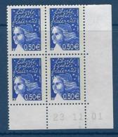 """FR Coins Datés YT 3449 """" Luquet 0.50€ Bleu Nuit """" Neuf** Du 23.11.01 - Ecken (Datum)"""