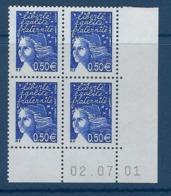 """FR Coins Datés YT 3449 """" Luquet 0.50€ Bleu Nuit """" Neuf** Du 02.07.01 - Ecken (Datum)"""