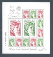 France, Bloc Feuillet, F5179, 5179/5182, Bloc Neuf **, TTB, 140 Ans De La Sabine De Gandon, 71e Salon D'Automne - Neufs