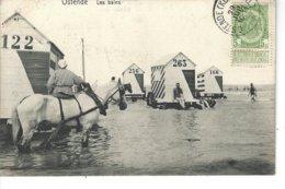 OSTENDE- BELGIQUE - T.B. Vue Animée Des Bains ( Cheval En Gros Plan ) - Oostende
