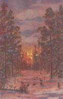 Latvia Artist Image Forest Scene On Postally Used C1930s Vintage Postcard, Sc#141 Stamp Used - Latvia