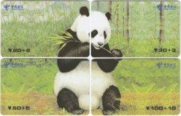 CHINA D-281 Prepaid ChinaTelecom - Painting, Animal, Panda - 4 Pieces - Used - Chine