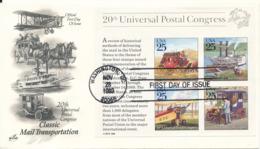 USA FDC Washington 28-11-1989 Classic Mail Transportation Complete Set Of 4 In Souvenir Sheet UPU With ArtCraft Cachet - 1981-1990