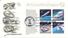 USA FDC Washington 24-11-1989 Future Mail Transportation Souvenir Sheet UPU With ArtCraft Cachet - 1981-1990