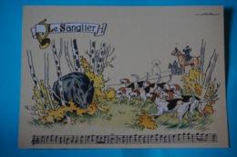CPSM Illustrateur JACK PARTITION MUSIQUE Sonneries Trompes CHASSE A COURRE CHEVAL CHIENS SANGLIER RARE 1950/1960 - Autres Illustrateurs
