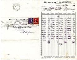 51  CHALONS SUR MARNE  BRASSERIE DE LA COMETE    FACTURE 1940 AVEC CORRESPONDANCE POUR PENNE - Alimentaire