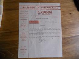 FACTURE AVON FONTAINEBLEAU  M DEBOURSE LES PAPIERS DE FONTAINEBLEAU 15 RUE HAUTE BERCELLE 1948 EXC ETAT - France