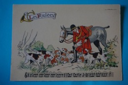 CPSM Illustrateur JACK PARTITION MUSIQUE Sonneries Trompes CHASSE A COURRE CHEVAL CHIENS Les Foulées 1950/1960 - Künstlerkarten