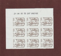 848 De 2013 - Neuf ** - Bloc De 9. N° & Daté.adhésif . Marianne De  Ciappa & Kawena.- Issu D'une Feuille De 100 Timbres. - Sonstige
