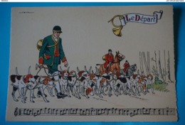 CPSM Illustrateur JACK PARTITION MUSIQUE Sonneries Trompes CHASSE A COURRE CHEVAL CHIENS Le Départ 1950/1960 - Illustrators & Photographers