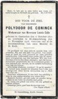 Doodsprentje *  De Coninck Polydoor (° Oostacker 1870 / + Sint-Amandsberg 1918) X Colle Leonie - Religion & Esotérisme