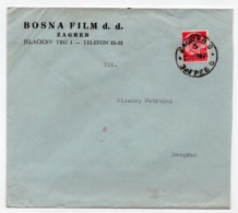 1936 YUGOSLAVIA, CROATIA, ZAGREB, BOSNA FILM D.D. COMPANY HEAD COVER SENT TO BELGRADE, POSTER STAMP IN RED - 1931-1941 Königreich Jugoslawien