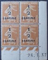DF40266/816 - 1937 - TYPE SEMEUSE - BLOC N°279B TIMBRES  NEUFS** CdF Daté - Coins Datés
