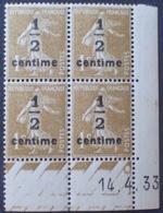 DF40266/817 - 1933 - TYPE SEMEUSE - BLOC N°279A TIMBRES NEUFS** CdF Daté - Coins Datés