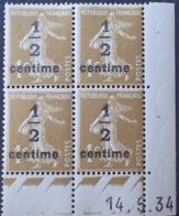 DF40266/818 - 1934 - TYPE SEMEUSE - BLOC N°279A TIMBRES NEUFS** CdF Daté - Coins Datés