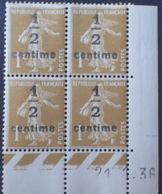 DF40266/820 - 1936 - TYPE SEMEUSE - BLOC N°279A TIMBRES NEUFS** CdF Daté - Coins Datés