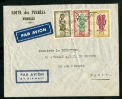 """CONGO BELGE """"MAMBASA 18/8/49"""" Sur N° 282 + 288 + 290. Sur Enveloppe Par Avion Pour La France - Belgian Congo"""