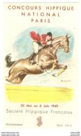 PUBLICITÉ PERRIER - CONCOURS NATIONAL HIPPIQUE NATIONAL PARIS 30 MAI 6 JUIN 1949 - JOCKEY CHEVAL - Reiten