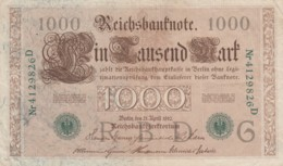 Germany #45 1000 Marks 21 April 1910 Banknote Money Currency - 1000 Mark