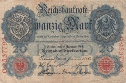 Germany #46b 20 Marks 1914 Banknote Money Currency - [ 2] 1871-1918 : Duitse Rijk