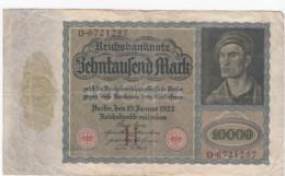 Germany #70 10,000 Marks 1922 Banknote Money Currency - 1918-1933: Weimarer Republik