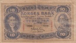 Norway #8c 10 Kroner 1939 Banknote Money Currency - Norwegen