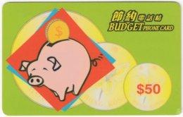 HONGKONG A-221 Prepaid TeleGold - Cartoon, Animal, Pig - Used - Hongkong