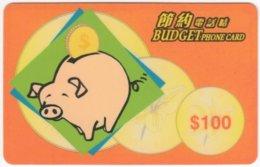HONGKONG A-222 Prepaid TeleGold - Cartoon, Animal, Pig - Used - Hongkong