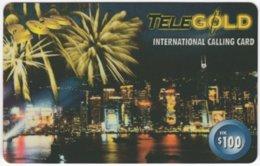 HONGKONG A-224 Prepaid TeleGold - View, Skyline, Town By Night, Firework - Used - Hongkong