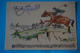 CPSM Illustrateur JACK PARTITION MUSIQUE Sonneries Trompes CHASSE A COURRE CHEVAL CHIEN CERF Le Jeunement 1950/1960 - Illustrators & Photographers