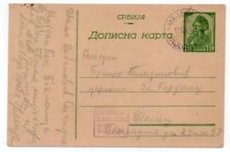 1943 WWII, GERMAN OCCUPATION OF SERBIA, MAJDANPEK TO SABAC,  VUK KARADZIC 1.50 DIN, MILITARY CENSORED IN VIOLET - Entiers Postaux