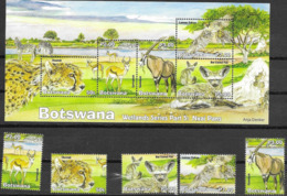 BOTSWANA, 2019, MNH, WETLANDS FAUNA, NXAI PANS, BIRDS, CHEETAHS, ZEBRAS, FOXES, ANTELOPES, 5v+SHEETLET - Altri