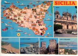 Sicilia. Multivisione Con Cartina. VG. - Unclassified