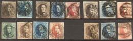 Mooi Lot Gerande Zegels Van N°1 Tot 12 Met N°2 Letters Van Watermerk  OBP 1438 € Catalogus 2009 - Belgium