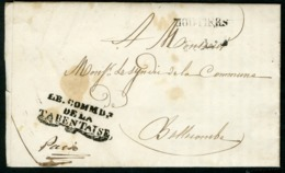 """1841 SAVOIE Franchise Du COMMANDANT De La TARENTAISE + """"MOUTIERS"""" En Noir Marque Sarde, Adressée à Bellecombe. - 1801-1848: Precursors XIX"""