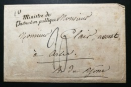 Enveloppe Avec Marque Ministre De L'Instruction Publique - Poststempel (Briefe)