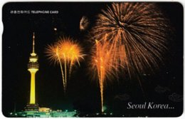 SOUTH KOREA A-661 Magnetic Telecom - View, Town By Night, Firework - Used - Korea (Zuid)