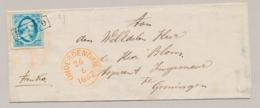 Nederland - 1862 - 5 Cent Willem III, 1e Emissie Op Omslag Van Onderdendam Naar Groningen - Periode 1852-1890 (Willem III)
