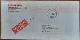 1988 Belgie - Happy With Honda 121.00 -  EMA Meter On Expres Cover To Italy (Piaggio Pontedera) - Moto