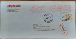 1985 Belgie - Happy With Honda 85.00 -  EMA Meter With Stamp On Registred Cover To Italy (Piaggio Pontedera) - Motorbikes