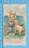 Die Cut   - Enfant Jesus Et Brebis -   Holy Card, Santini, Image Pieuse - Images Religieuses